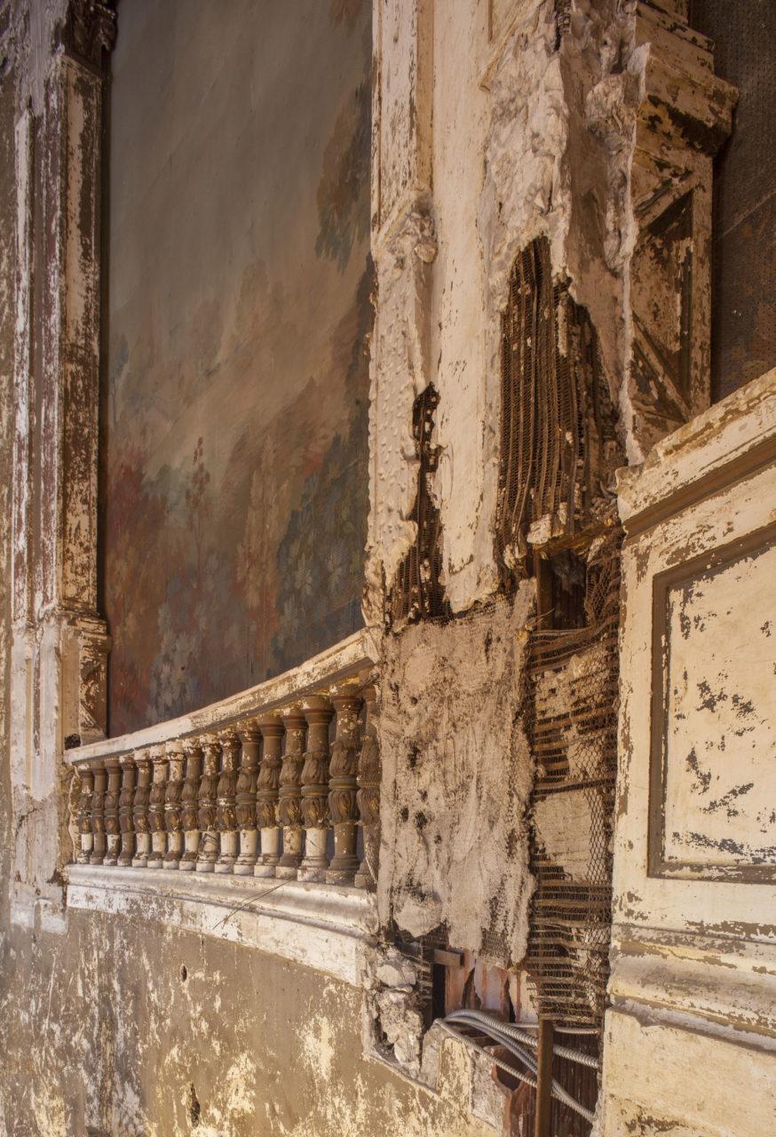 Missing plaster on organ loft - c.2016