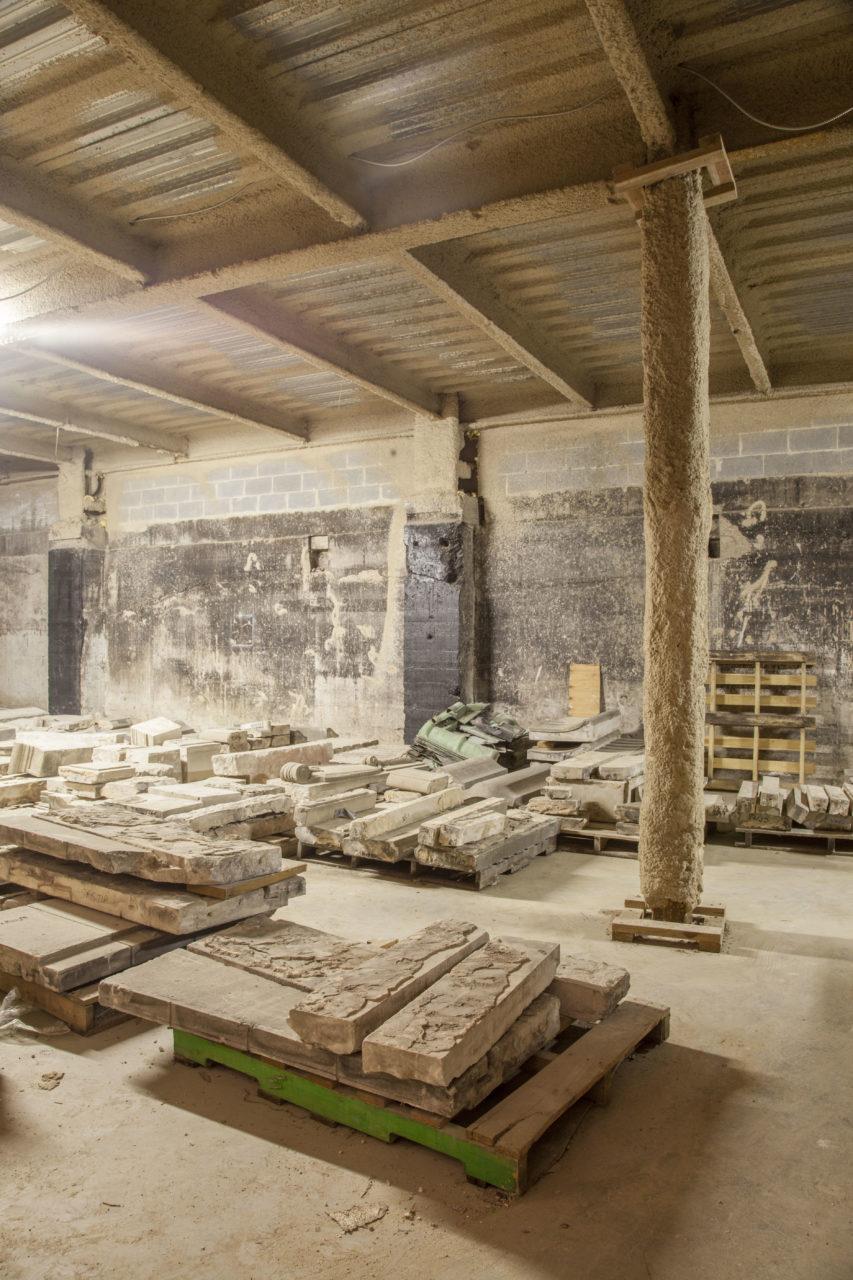 Historic façade stored beneath stage - 1986-2017