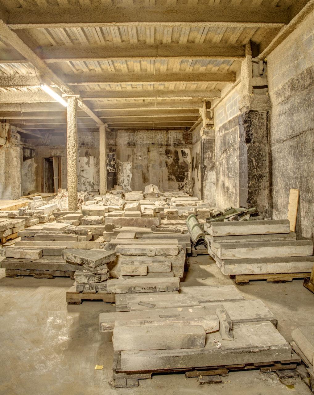 Historic façade stored beneath Carolina stage - 1986-2017