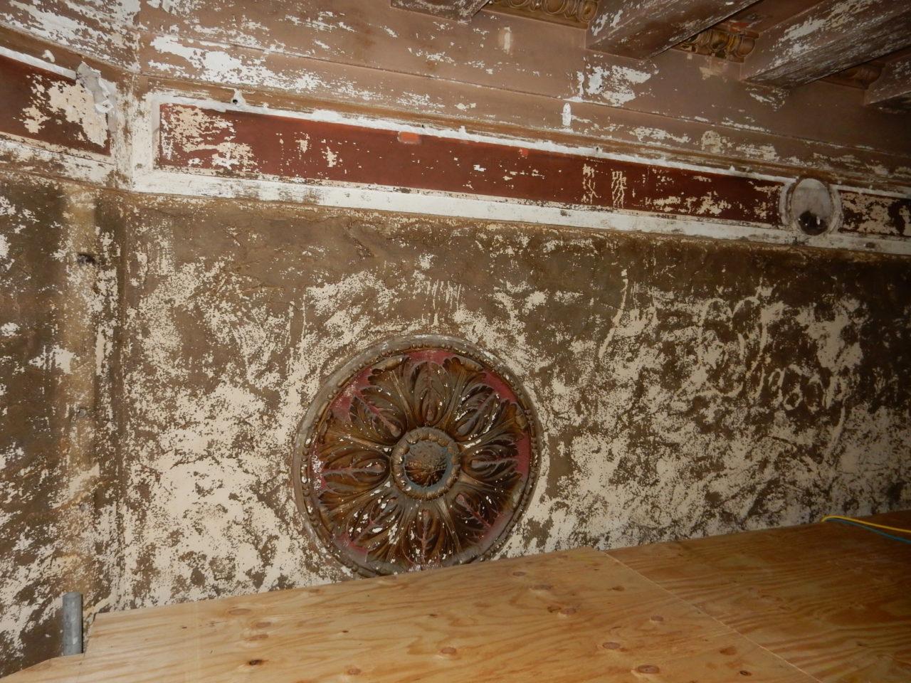 Plaster rosette above proscenium