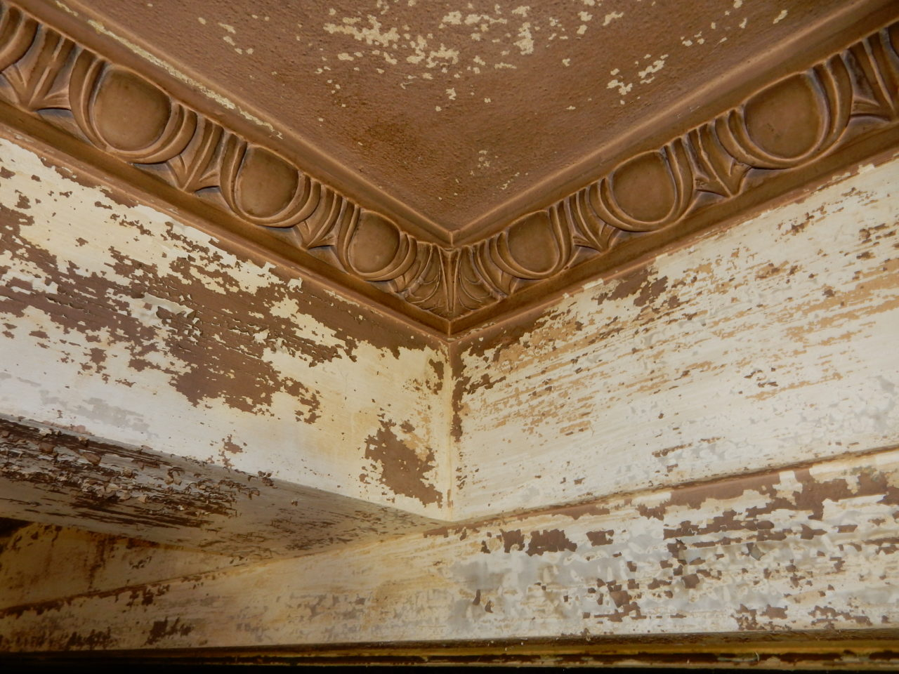 Wonderful examples of egg and dart moulding  border the ceiling