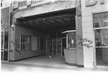Closed in 1978, this 1985 image shows its abandoned and graffitied entrance