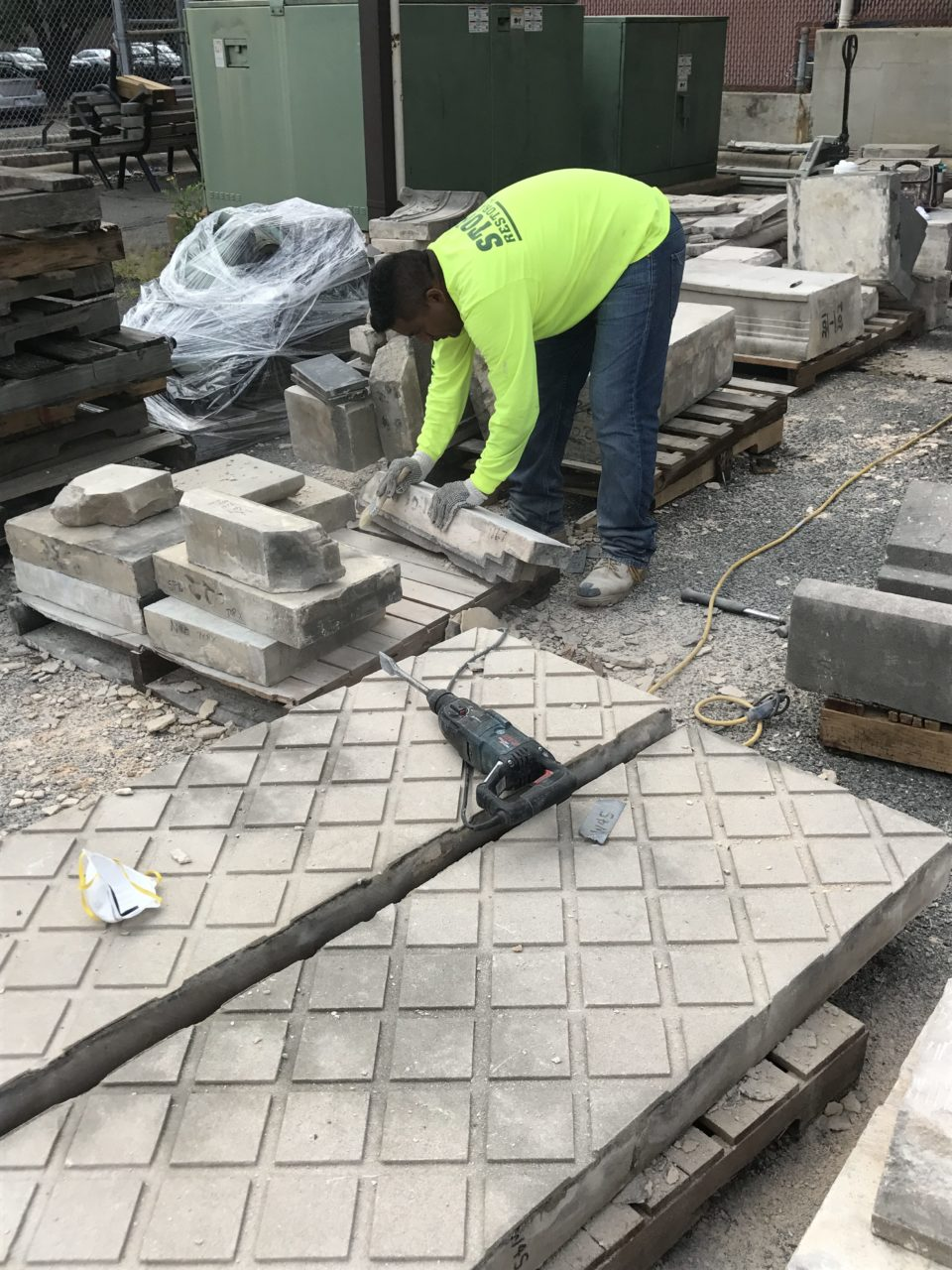 Stone Restoration crews reassembled the façade on the ground to ensure its pieces were intact