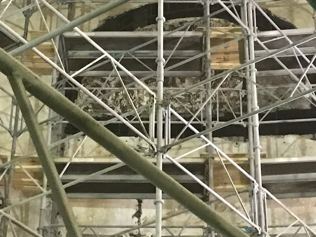 Scaffolding during abatement work - Fall 2017