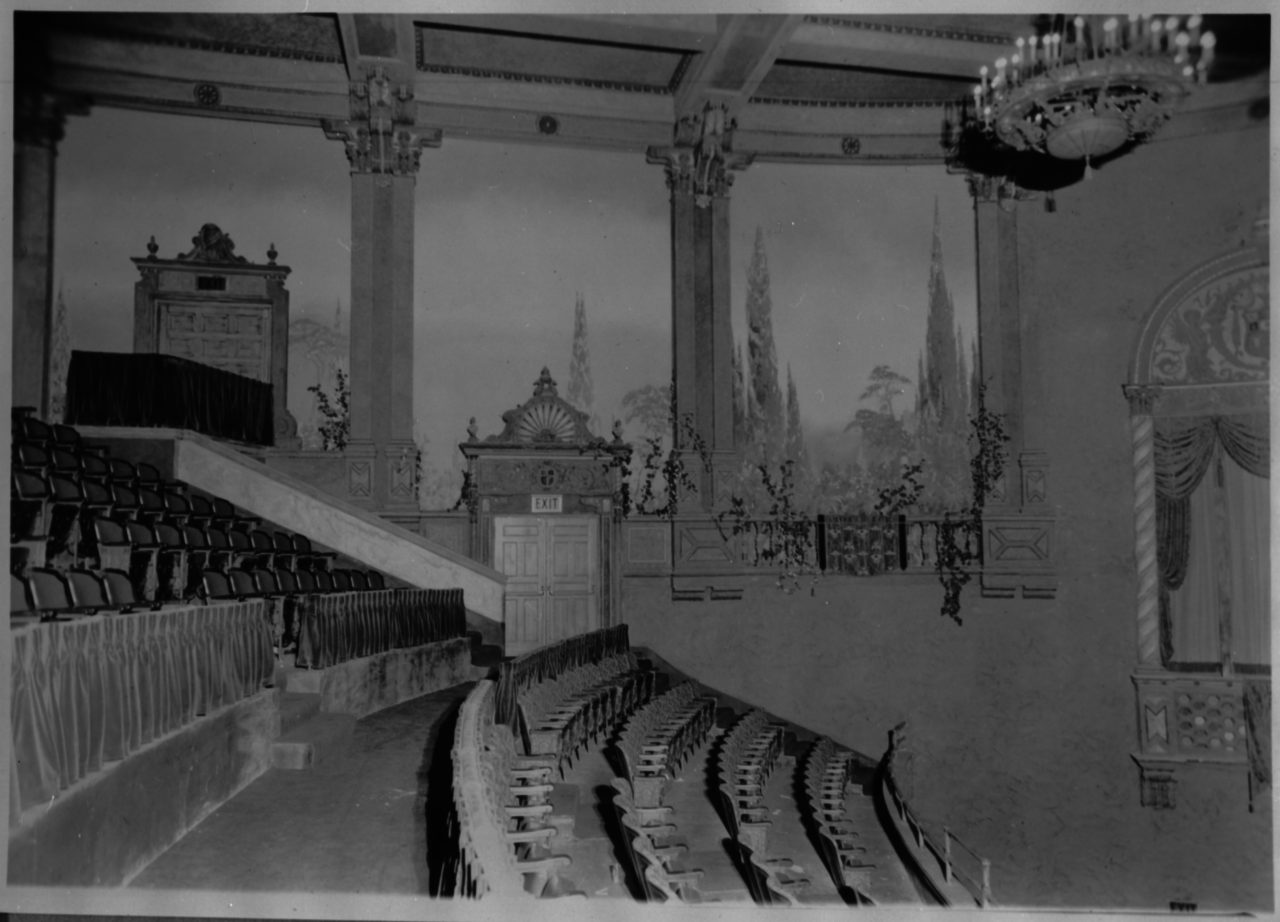 Balcony with murals in background - c. 1927
