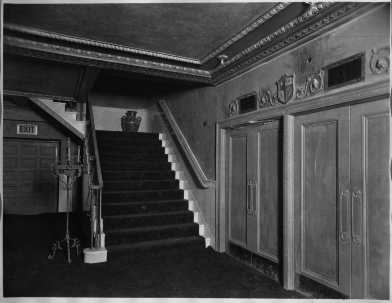 Orchestra stair leading to mezzanine lobby - c. 1927